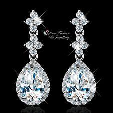 18k White Gold Plated Simulated Diamond Shiny Flower Teardrop Formal Earrings