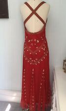 Beaded Red Dress Size 16 Maxi Evening Dress Gold By Kaleidoscope (J17)