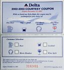 2002-2003 Delta Airlines Courtesy Coupon Beer Wine Cocktail Headset Expired