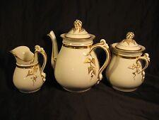 Antique Tea/Coffee Pot w/ Sugar & Creamer Limoges Foliate Impressed H&C