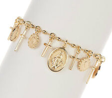 Virgin Mary Cross Charm Rosary Bracelet 18K Yellow Gold Vermeil Sterling Silver