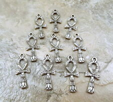 Set of 10 Pewter Ankh Charms- 5425