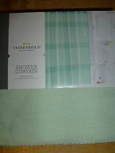 Threshold Shower Curtain Green Pleated - NEW