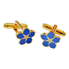 More details for superb quality small discreet flower masonic forget me not cufflinks badge