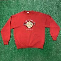 Vintage 90s Hard Rock Cafe San Diego California Crewneck Sweatshirt Large Red