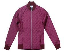 Columbia Women's NWT Omni Heat Blue Square Lodge Baseball Jacket Burgundy XL