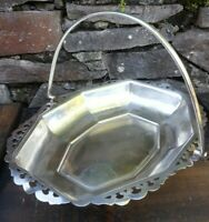Antique lion hallmarked G10 silver plated ,footed serving basket