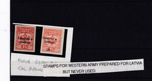 RUSSIAN STAMPS OVERPRINTED FOR LATVIA WORLD WAR ONE UNUSED