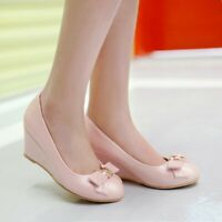 Womens Wedge Heels Bow Knot Round Toe Casual Office Shoes Pumps Sweet Lady Heels