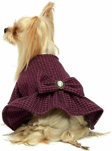 Fitwarm Vintage Plaid Dog Dress with Bowknot Faux Woolen Thermal Doggie Clothes