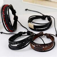 Retro Multilayer-Kunstleder-Armband Armband Stulpe-Armband-Mann; H4K0