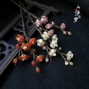 Red Plum blossom Hairpin Hair Stick Kanzashi for Kimono Hanfu Handwork Winter Sa