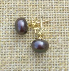 Charming Natural 9-10mm Dark South Sea Pearl Stud Earring 14k Yellow Gold P