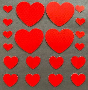 Hearts 3M Reflective Stickers Decals Reflector Pack for Car Bike Helmet Laptop