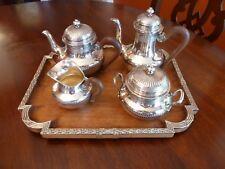 EMILE PUIFORCAT STERLING SILVER LOUIS XVI BACHELOR TEA COFFEE SET & TRAY MARRETT