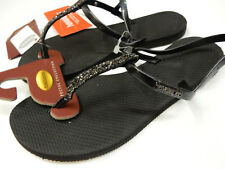 HAVAIANAS WOMENS SANDALS YOU RIVIERA CRYSTAL SANDAL BLACK SIZE 7/8