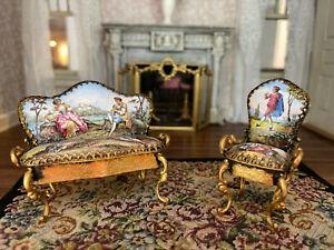 Antique Miniature Dollhouse Viennese Gilt Bronze Painted Enamel Settee Chair Set