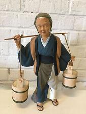 Vintage Japanese Hakata Urasaki Doll Ceramic Figurine Woman Carrying Buckets