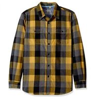 True Grit Mens Roadtrip Plaid Two Pocket Heather Long Sleeve Flannel Shirt Small