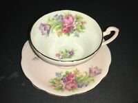 BONE CHINA CUP & SAUCER by EB FOLEY TULIP PINK ROSES FLORAL MULTICOLOR ON PINK