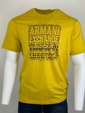 Armani Exchange Authentic Graphic Logo Regular Fit T Shirt Yellow NWT