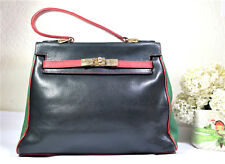 Vintage POURCHET Italy 3-colored Black Green Red Calf Leather Stylish Hand Bag