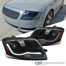 Fit 99-06 Audi TT Black LED Strip Projector Headlights Head Lamps Left+Right