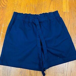 J. Crew Navy Blue Elastic Cotton Tie Waist Shorts Size 6