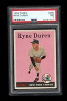 1958 Topps BB Card #296 Ryne Duren New York Yankees PSA NM 7 !! INCREDIBLE RC !!