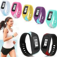 Lcd Run Step Walking Distance Calorie Counter Watch Bracelet Pedometer Digital