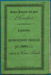 1874 - Libretto di Ricognizione Postale - Rarità - Certificato Caffaz