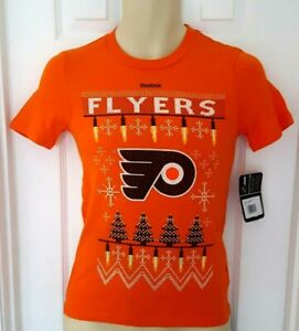 PHILADELPHIA FLYERS Youth T Shirt Size Small 8 Holiday Ugly Christmas Style New