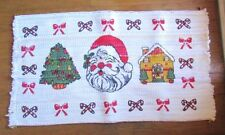 "Christmas Rag Rug Screen Printed 24"" x 45"" Made in USA Mountain View Industries"