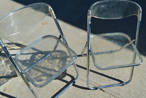 2 MCM  LUCITE & CHROME FOLDING CHAIRS