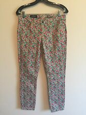 2883)  J CREW sz 4 27 Ankle Toothpick low rise skinny colored floral denim jeans