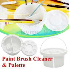 White Artist Paint Brush Cleaner Tub Holder Container Watercolor Oil Face 16x9cm