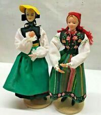 "Lot of 2 Handmade Polish Folk Art Spoldzielnia Ethnic Dolls Krakow Poland 7"""
