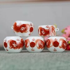 1set 5pcs Asian Bamboo Bird Cage Red lion food cups 狮�鸟食�