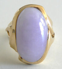 Large Vivid Lavender Vintage Antique Jadeite 14KT Yellow Gold Jade Ring