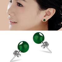 Natural 6mm Women Jade Earrings Solid Silver Ear Stud Green Jadeite