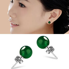 Natural 6mm Women Jade Earrings Solid Silver Ear Stud Green Jadeite