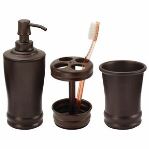 mDesign 3 Piece Steel Bathroom Vanity Countertop Accessory Set - Bronze