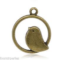 50 Pendentifs Charms Oiseau Couleur bronze 24x21mm