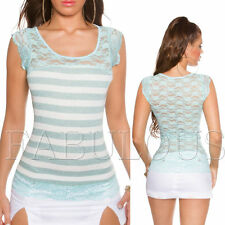 New Women's Striped Lace Top Shirt Party Summer Casual Size 6 8 10 XS S M