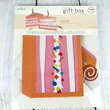 Hallmark Cake Slice Gift Box w/ Candle Birthday Present Packaging Pink Orange