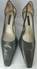 UNISA Women's Olive Green Leather High Heel Pump Shoe Side Open. 3 1/2""