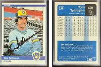 Tom Tellmann Signed 1984 Fleer #216 Card Milwaukee Brewers Auto Autograph