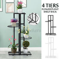 4 Tier Metal Flower Pot Plant Display Stand Shelf Holder Garden Yard Home