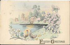 "Antique Postcard ""Easter Greetings"" Printed in Germany Hens, Lake, Scene, Chicks"