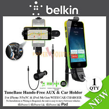 Belkin iPhone 5,5s,5c TuneBase Hands-Free AUX & car holder with charger New
